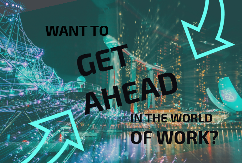 Get ahead in the world of work infographic crop