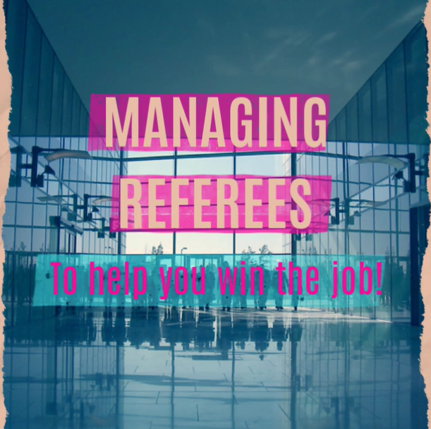 Corporate Office with many employees walking. Managing Referees To Help you Win the Job
