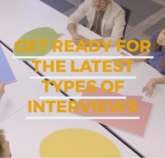 Get ready for the latest types of interviews - heading. Background image of a job interview